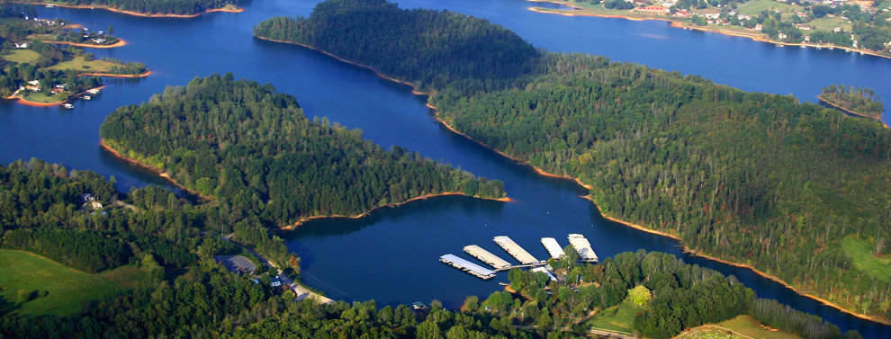 see all georgia has to offer - aerial view of boundary waters resort and marina on lake chatuge in the north georgia mountains