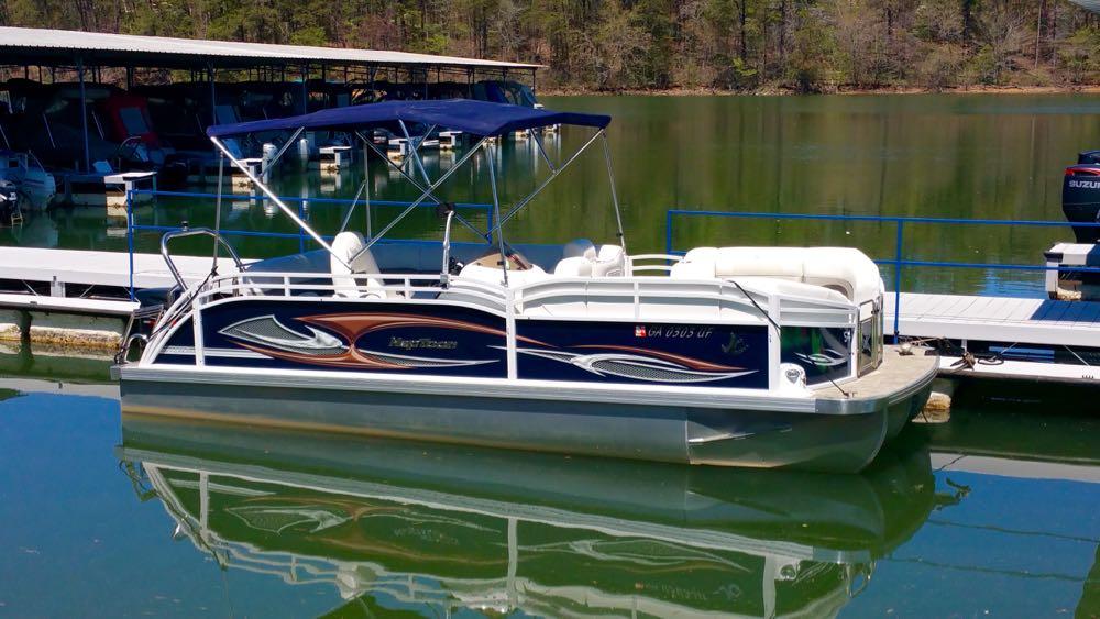 2015 Sport Pontoon Boat Rental Blue